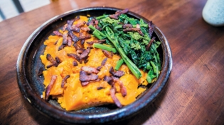 Butternut Squash with Bacon and Broccoli Rabe